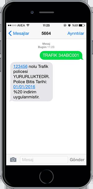 arac sorgulama sms 11