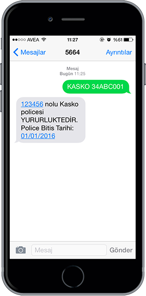 arac sorgulama sms 12