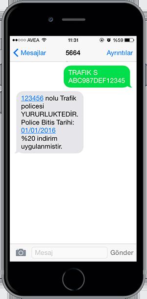 arac sorgulama sms 15