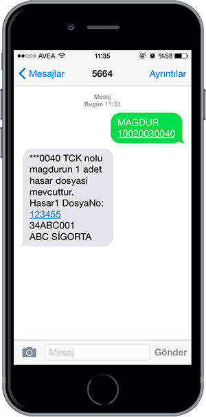 arac sorgulama sms 17