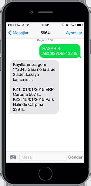 arac sorgulama sms 3