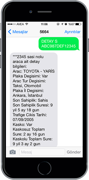 arac sorgulama sms 5