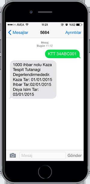 arac sorgulama sms 8