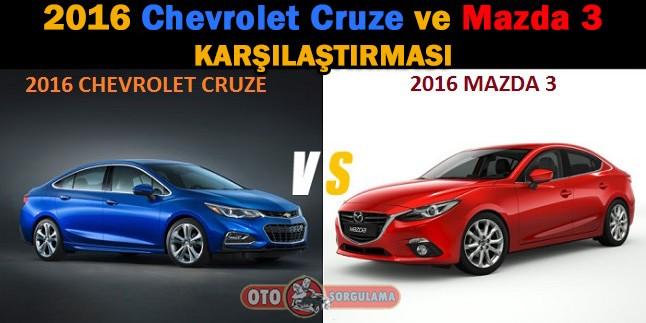 2016 Chevrolet Cruze ve 2016 Mazda 3 sedan Karşılaştırma