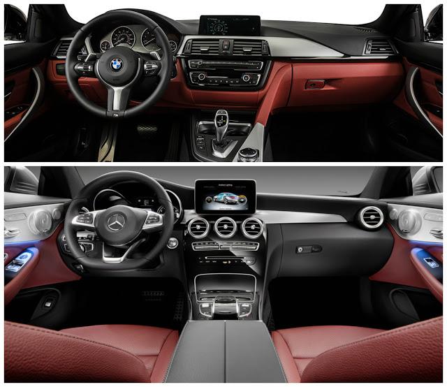 yeni mercedes c180 coupe bmw 4.18i granc coupe kokpit